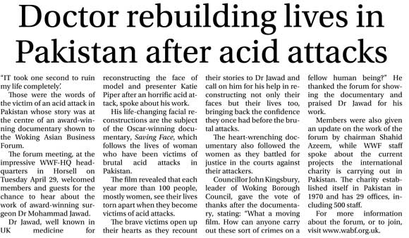 Doctor rebuilding lives in Pakistan after acid attacks